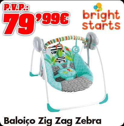 Bright Starts Balanço portátil do Zig Zag Zebra